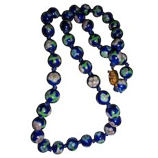 Cobalt Blue Asian Floral Motiff Hand-knotted Cloisonné Beaded Necklace