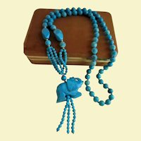 Beautiful Sky-Blue Turquoise & 14K Gold Carved Elephant Pendant Hand-knotted Beaded Necklace
