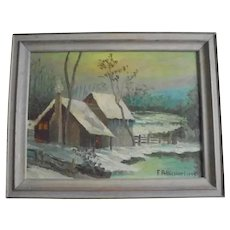Beautiful Country Winter Scene Landscape Oil Painting by F. Pellicciari