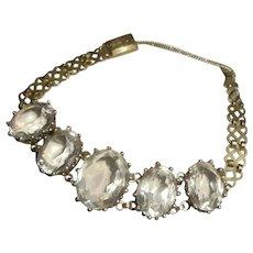 Art Deco Era 14K Gold-Filled Crystal Intricate Link Bracelet 1930's