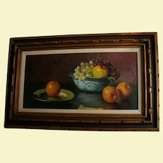 "32"" Original Jean Cordain Classical Fruit Still Life Oil Painting in Carved Wood Frame French Artist"