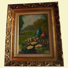 Summer Floral Garden Scene Original Landscape Oil Painting in Ornate Gilt Frame Fashion Hat Signed