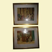 Pair Antique European Court Scene Hand Colored Lithographs Framed Beautifully Silk Matting