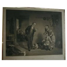 "1850 American Art Union Boy & Dog ""The New Scholar"" Antique Engraving after Oil Painting by Francis William Edmonds"