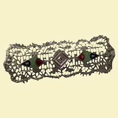 Antique 14K White Gold Filigree Diamond Bar Art Deco Pin Brooch Inlaid Red Coral Onyx Turquoise
