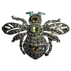 Adorable Sterling Silver Marcasite & Gemstone Insect Bug Bumble Bee Brooch 925