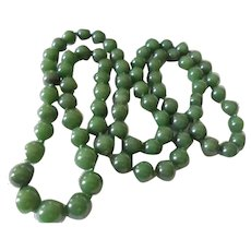 "Hand-knotted 8mm Deep Green Jade 28"" inch Sautoir Necklace Vintage"