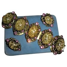 Gorgeous Over-sized Easter Egg Pink Rhinestone Confetti Cabochon Bracelet Earrings Set Demi Parure Selro
