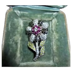 Exquisite 14K White Gold Pave Set Synthetic Gemstone Flower Brooch Hallmarked