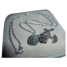 Faith Hope Charity Sterling Silver Marcasite Charms Necklace by Judith Jack