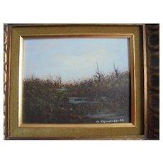 American Realism Lansdcape Painter John Lewis Egenstafer 1968 Oil Painting of Marsh Land in Gilt Ornate Frame Listed Pennsylvania / NJ Artist