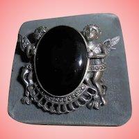 Vintage 925 Onyx Cherub Angel Marcasite Brooch Sterling Silver