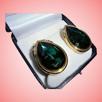 Huge Swarovski Swan Mark Emerald Green Crystal with Clear Accents Clip Earrings Signed