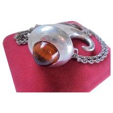 Rare Kenneth Lane Scottish Mull Horn Pendant Vinaigrette Necklace KJL