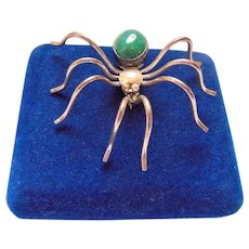 Spider Sterling Silver and Turquoise Figural Brooch Hallmarked EA