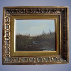 American Realism Landscape Painter John Lewis Egenstafer 1968 Oil Painting of Marsh Land in Gilt Ornate Frame Listed Pennsylvania / NJ Artist