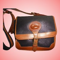 Vintage Dooney & Bourke Navy Blue & Tan Shoulder All Weather Leather Handbag Box Purse