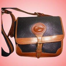Vintage Dooney & Bourke Navy Blue & Tan Shoulder All Weather Leather Handbag Box Purse