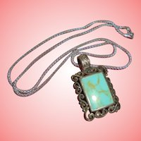 Sterling Silver & Turquoise Pendant Necklace Hallmarked FAS