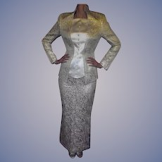 Paris Couture Thierry Mugler 1982 Amazing Gold & Ivory Fitted Evening Jacket & Floor Length Skirt Holidays Elegant and Gorgeous