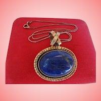 Chunky Lapis Lazuli Sterling Silver Pendant Necklace