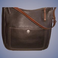 Coach Pebbled Leather Chocolate Brown Shoulder Handbag Style