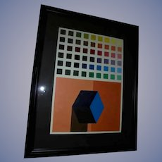 "School of Joseph Albers Original Oil Painting ""Squares"" by Artist Josh Grill"