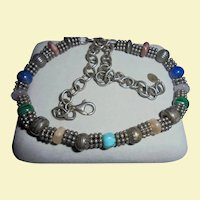 Sterling Silver Carolyn Pollack Relios Gemstone Necklace Lapis Turquoise Malachite