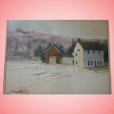 "Robert Frost Al Barker NYC Salmagundi Club Provenance 1973 Original Watercolor""Winter Barns"" Farm Derry New Hampshire"