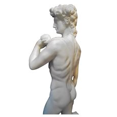 Grand Tour Alabaster Sculpture on Marble after Michelangelo 's David Statue