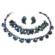 Sparkling Kramer of NY Rhinestone Blue & Green Easter Egg Foil Necklace Bracelet & Earrings Full Parure Set