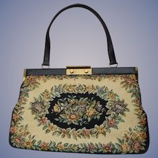 Free Shipping Cyber Weekend Special ~ Bon Gout Made In Denmark Large Floral Black, Beige & Flowers Tapestry Handbag  Danish