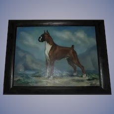 American Boxer Show Dog Oil Painting by Missouri Artist / Illustrator Dalton Shourds King