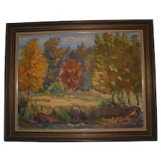 Autumn Trees Large Fall Landscape by  Janis Silins Impressionist Listed Latvian American Artist Oil Painting Signed