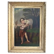 Saint John With The Lamb Large Antique Oil Painting After Murillo 18th - 19th Century Christian Catholic Art Museum Worthy