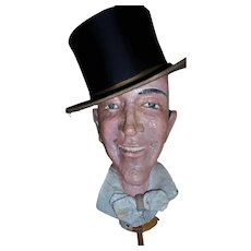Old Hollywood Fred Astaire Papier Mache Life-Size Head Sculpture Prop & TOP HAT