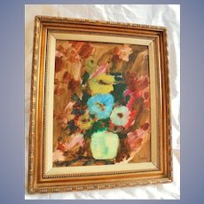 Original Donald Purdy Floral Still Life Oil Painting MCM CT Listed Artist Mid Century Modern Flowers