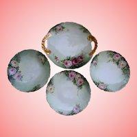 Antique Limoges Pink Roses Hand Painted Serving Tray and Dessert Plates Set 1911 T&V France Artist Initial Signed Gold Gilt Trim Tresseman and Vog