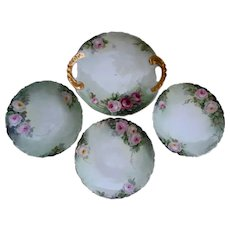 Antique Limoges Pink Roses Hand Painted Serving Tray and Dessert Plates Set 1911 T&V France Artist Initial Signed Gold Gilt Trim Tresseman and Vog