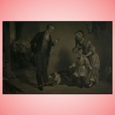 """1850 American Art Union Boy & Dog """"The New Scholar"""" Antique Engraving after Oil Painting by Francis William Edmonds"""