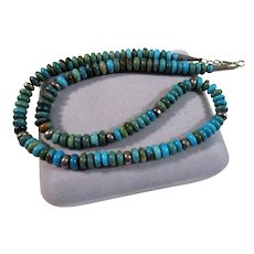 Vintage Sterling Silver & Turquoise Beaded Necklace Green and Blue
