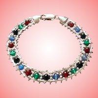 Italian Sterling Silver Multi Gemstone Milor Italy Bracelet