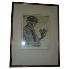 Man With Flowers Original Paul Geissler (Germany) Signed Etching with Ernst Geissendorfer Label