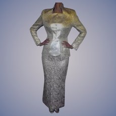 Paris Couture Thierry Mugler 1982 Sz 42 Amazing Gold & Ivory Fitted Evening Jacket & Floor Length Skirt Holidays Elegant and Gorgeous Haute Couture