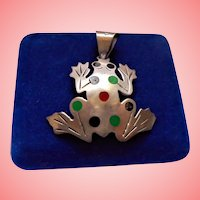 Sterling Silver Figural Frog Polka Dot Pendant 925 Mexico TD-104