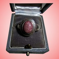 Sterling Silver & Rhodocrosite Stone Ring Size 10