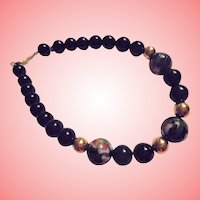 14K Gold Black Onyx Cloisonne Beaded Bracelet
