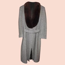YSL Mens  Paris Vintage Tweed Coat with Brown Fur Collar Size size 42 - 44 Reg Yves Saint Laurent