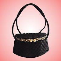 Guild Original Jeweled Black Box Purse with Mirror Evening Bag 1940s Chic Vintage