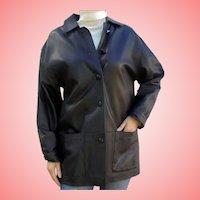 Size L Ladies Italian Black Leather Jacket Car Coat by Athos Florence Italy